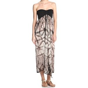 Strapless Tie-Dyed Sheer Printed Cover Up Dress